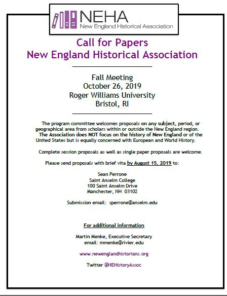 CFP for Fall NEHA Meeting at Roger William Univ – Oct 26, 2019 | New